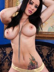Pitcures of Jayden Jaymes stripping out of lingerie and spreading her asshole