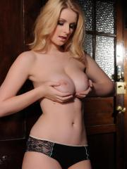 Blonde babe Jess Davies strips down to her panties and high-heels