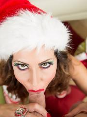 Busty babe Jessica Jaymes gives you a hot blowjob for Christmas
