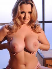 Busty blonde Jodie Gasson shows off her gorgeous natural boobs