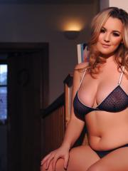 Jodie Gasson teasing in her black lingerie in the chair