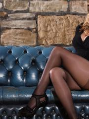 Busty blonde Jodie Gasson strips out of her black dress