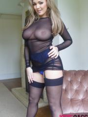 Jodie Gasson shows off her curvy body in her see through bodysuit