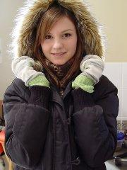 Pictures of Josie Model trying to stay warm until you warm her up