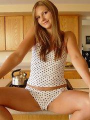 Pictures of Josie Model teasing on the kitchen counter