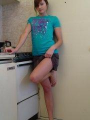 Pictures of Josie Model stripping in the kitchen