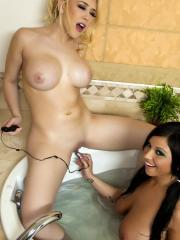 Pictures of Kagney Linn Karter getting really wet with her friend Halie James