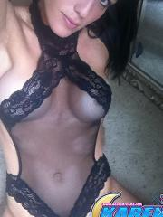 Pictures of Karen Dreams taking pics of herself in black lingerie