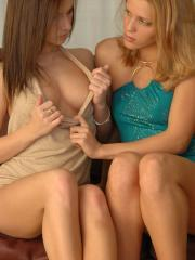 Karen and Kate strip down to their thongs and make out on the couch