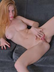 Perky natural redhead Alexia Sirens spreads ginger pussy for you