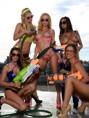 Kayden Kross invites her friends over to see how wet they can get
