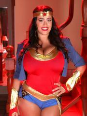 Leanne Crow dresses up as a busty Wonder Woman