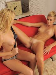 Blonde girls Caterina and Reecy go down on each other