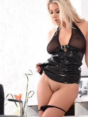 Lexi Lowe in her pvc at the office