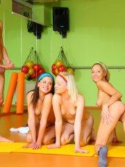 Pictures of Little Caprice having a hot orgy with her friends