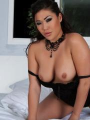 Busy asian London Keyes plays with her amazing tits and great ass