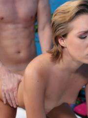 Cute girl Bailey fucks her massage client after a rub down