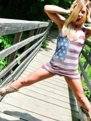 Blonde babe Madden wishes you a happy 4th of July