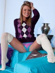 "Blonde teen Madden strips for you in ""Argyle"""