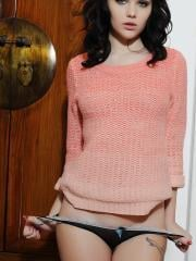 Mellisa Clarke peels off her cute pink top
