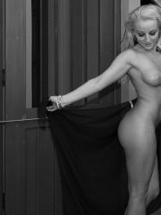 Blonde hottie Melissa Matters flaunts her nude body in black and white