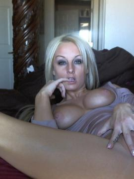 Blonde babe Melissa strips for you all sexy in bed