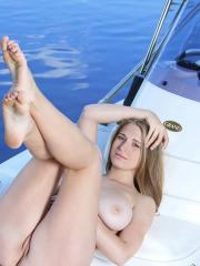 Busty beauty Sheela A spreads her legs for you on a boat