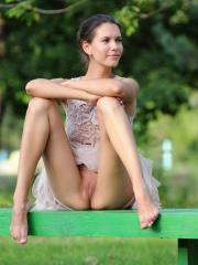 Brunette beauty Suzanna A shows you what's up her skirt