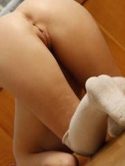"""Brunette girl Edwige A dresses in stockings and spreads her legs for you in """"Serona"""""""