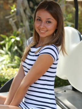 """Teen hottie Linda Chase gets naked on a golf-cart in """"Mechini"""""""