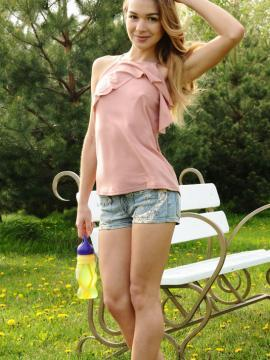 """Brunette teen Kaleesy has some fun at the park in """"Santoa"""""""