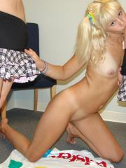 Cali and Cherish get a hot blonde friend over for a game of strip twister