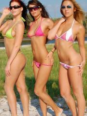 Misty Gates, Avery Ray and Brooke Marks head to the beach and start flashing