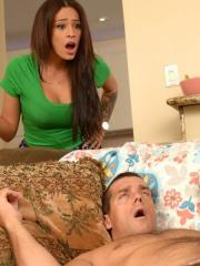 Hot coed Dillion Harper has a threesome with her step-mom Jamie Valentine