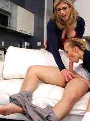 Schoolgirl Bailey Brooke has a threesome with her step-mom Cory Chase