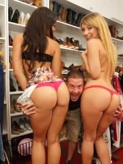 Blonde teen Kelly Paige fucks a stranger for cash in a store