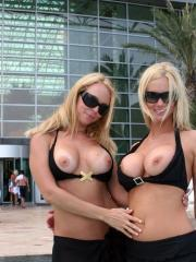 NaughtyAllie and NaughtyJulie show their tits in public for the onlookers