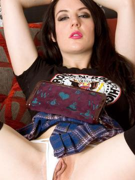 Samantha Bently lifts her blue plaid skirt to show off her pussy