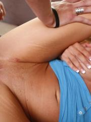 Busty blonde Corinna Blake gets her wet pussy fucked and her boobs jizzed on