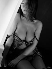 Hot girl Nikki puts on her sexy leopard lingerie and teases in black and white