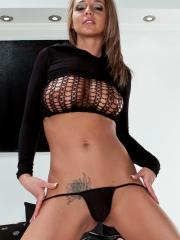 Busty hottie Nikki Sims shows off her in her black mesh hoodie