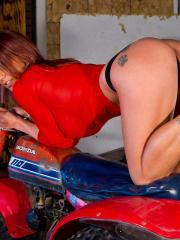 Stunning babe Nikki Sims shows off her hot body on an ATV
