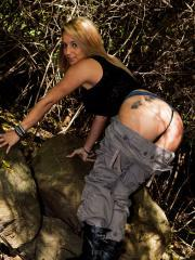 Busty hottie Nikki Sims teases in her cargo pants