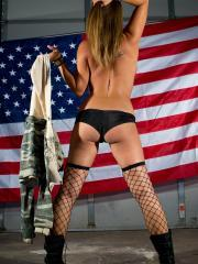 Nikki Sims wishes you a happy 4th in boots and fishnets