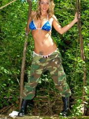 Pictures of Nikki in camo and a bikini top