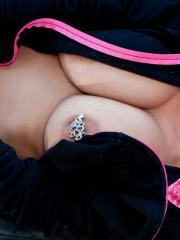 Nikki Sims gives you a hot strip-tease in her pink and black panties