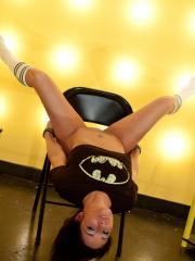 Brunette babe Nikki  Sims spreads the geek love in her Batman shirt