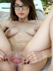 Hot girl in glasses Phoebe Queen fucks her tight pussy with a dildo