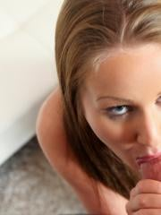 Angel Blade takes a hot load of sticky cum in her mouth after some naughty sex