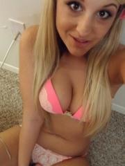 Blonde coed takes selfies in her pink bra and panties